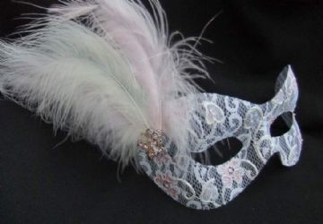 Delicate white lace Burlesque style feather mask